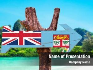 Wooden fiji flag sign beach