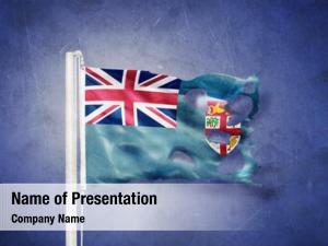 Fiji torn flag flying against