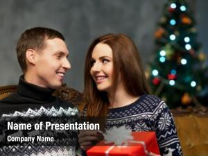 Couple with a christmas powerpoint theme