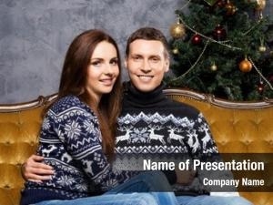 Couple with a christmas powerpoint background