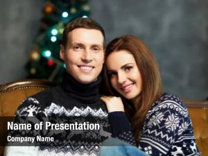 Couple with a christmas powerpoint template