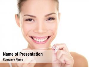 Woman dental floss flossing teeth
