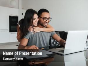 Couple happy loving using laptop