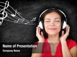Wearing music woman headphones listening
