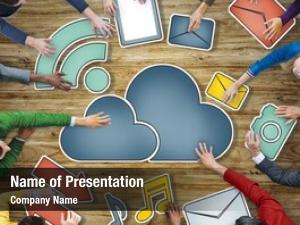 Business aerial view people cloud