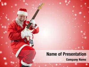 Claus smiling santa playing guitar