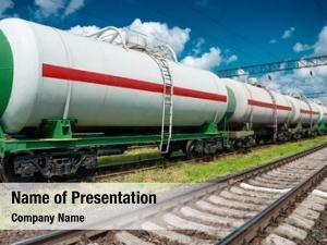 Tank white railroad cars oil