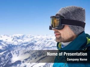Wearing portrait man ski glasses