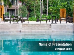 Poolside patio swimming