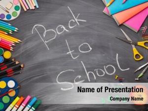 School stationery accessories blackboard inscription: