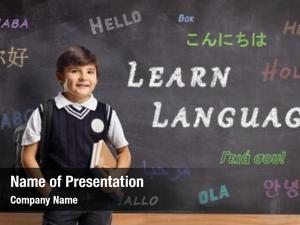 Blackboard schoolboy front hello written