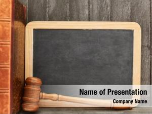 Judge empty blackboard gavel beside