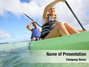 Transparent couple canoeing caribbean sea