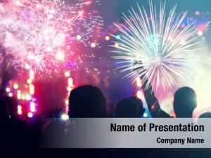 Celebrating fireworks crowd new year