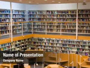 Library view female staff standing