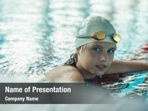 Exercising child portrait swimming