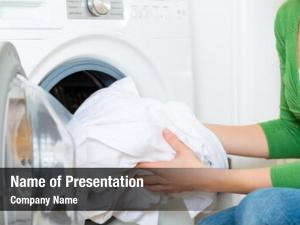 Housekeeper young woman has laundry