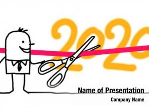 Inaugurating cartoon businessman 2020 new