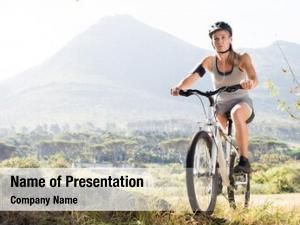 Woman portrait senior riding mountain