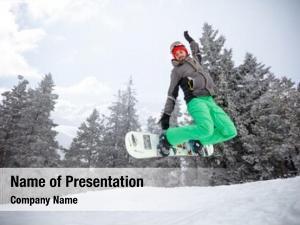 Jumping fit snowboarder snowboard ski