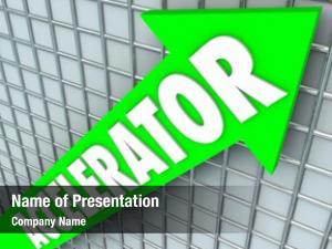 Green accelerator word arrow rising