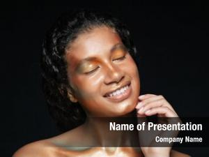 African american beauty portrait of happy