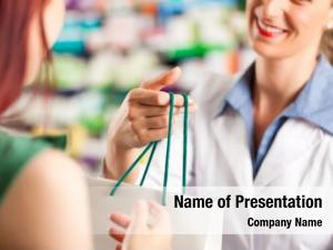 Female female pharmacist customer her