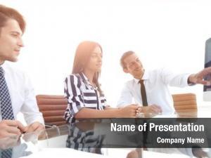 Discussing business team sales statistics