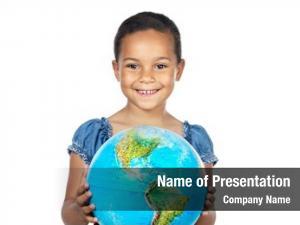 World girl globe over white