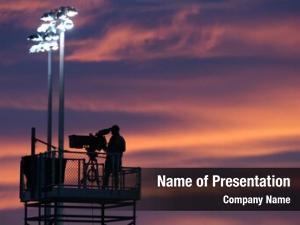 Sunset silhouette cameraman