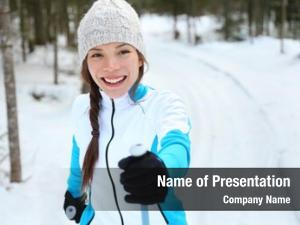 Woman cross country skiing doing classic