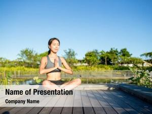 Woman meditation yoga outdoor park