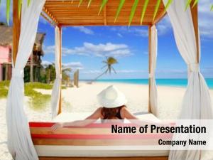 Beach gazebo tropical woman rear
