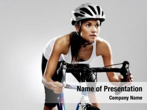 Woman fit cyclist road racing