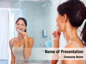 Woman portrait attractive brushing teeth