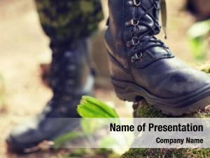 Feet close soldier army boots