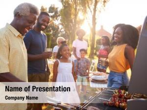 Black multi generation family barbecue,
