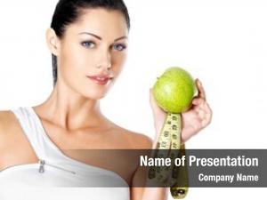 Woman portrait healthy apple bottle