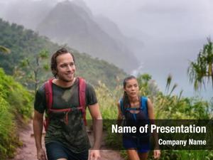 Hikers mountain trek couple walking