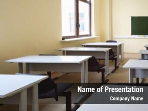 Classroom empty beige wooden school