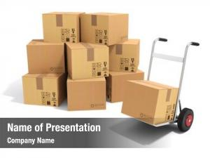 Cardboard hand truck boxes white