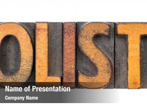 Abstract holistic word vintage letterpress