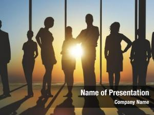 Business confident silhouette people team
