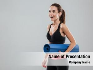 Woman laughing fitness fitness mat