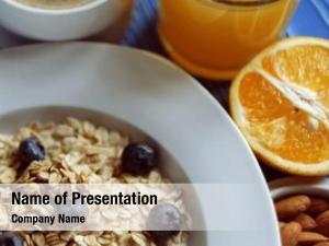 Fresh oatmeal porridge blueberries, almonds,