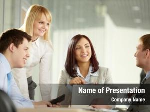 Group cheerful business holding meeting