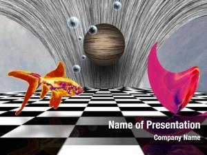 Chessboard, pink matter sphere golden