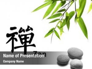 Zen bamboo leafs stones white,the