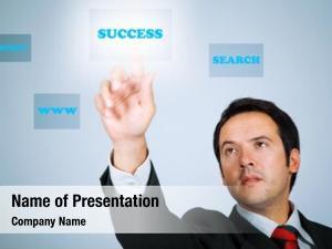 Pressing young businessman digital key