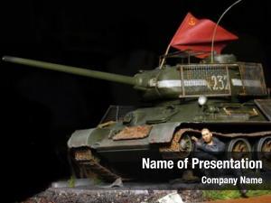 Soviet wwii scene soldier tank